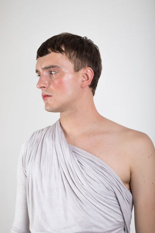Shop Emerging Slow Fashion Genderless Brand Ludus Agender Brand Requiem Collection Naturally Dyed Jersey Drape Off Shoulder Top at Erebus