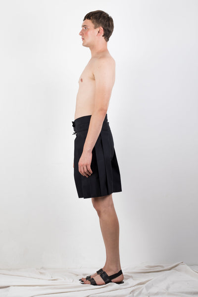Shop Emerging Slow Fashion Genderless Brand Ludus Agender Brand Requiem Collection Black Zero Waste Cotton Twill Pleated Shorts at Erebus