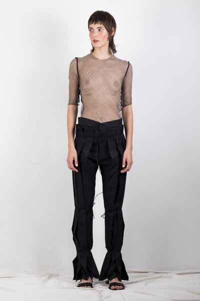 Shop Emerging Slow Fashion Genderless Brand Ludus Agender Brand Requiem Collection Black Zero Waste Cotton Twill Pleated Trousers at Erebus