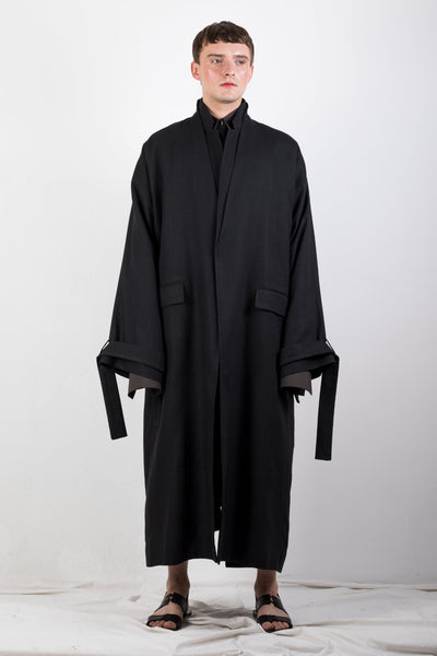 Shop Emerging Slow Fashion Genderless Brand Ludus Agender Brand Requiem Collection Black Double Collar Flax Coat at Erebus