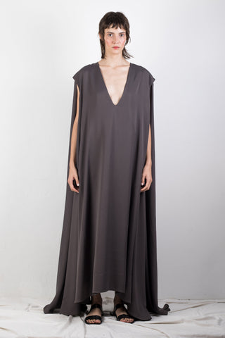 Shop Emerging Slow Fashion Genderless Brand Ludus Agender Brand Requiem Collection Grey Cupro Voluminous V-Neck Sleeveless Dress at Erebus