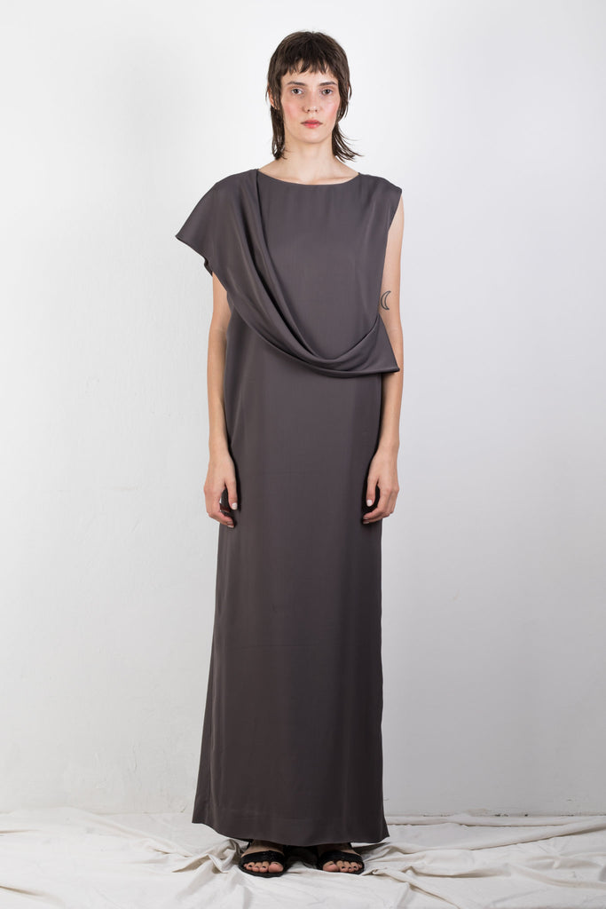 Shop Emerging Slow Fashion Genderless Brand Ludus Agender Brand Requiem Collection Grey Asymmetric Drape Column Maxi Dress at Erebus