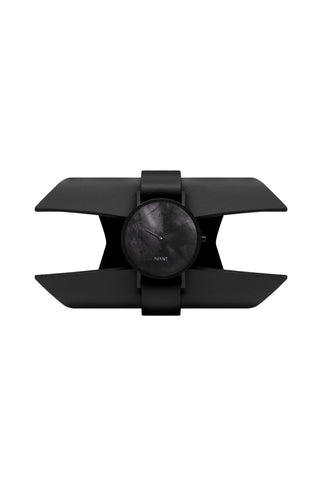 Shop emerging avant-garde accessory brands South Lane X Aumorfia Collaboration Black Shield Avant Diffuse Watch at Erebus