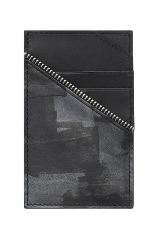 Shop emerging avant-garde accessory brand South Lane Avant Raw Hand-painted Black Leather Cardholder at Erebus