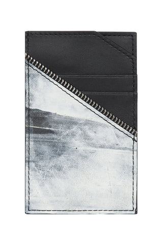 Shop emerging avant-garde accessory brand South Lane Avant Raw Hand-painted White Leather Cardholder at Erebus