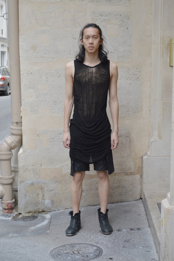 Shop Couture Conscious Dark Avant-garde Luxury Designer Brand Sandrine Philippe SS20 Homme Collection Black Deknitted Tank Vest Top at Erebus