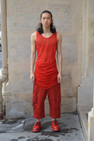 Shop Couture Conscious Dark Avant-garde Luxury Designer Brand Sandrine Philippe SS20 Homme Collection Red Deknitted Tank Vest Top at Erebus