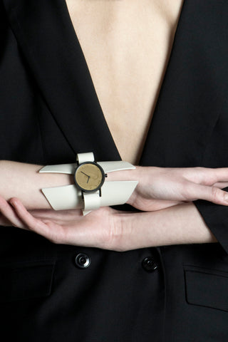 Shop emerging avant-garde accessory brands South Lane X Aumorfia Collaboration Off-White Shield Watch at Erebus