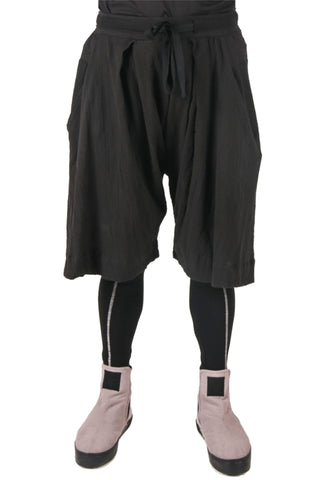 Shop Fair Fashion Genderless Avant-garde Basics Brand PULSE by Mark Baigent Collection Black Wide Saphenous Shorts at Erebus