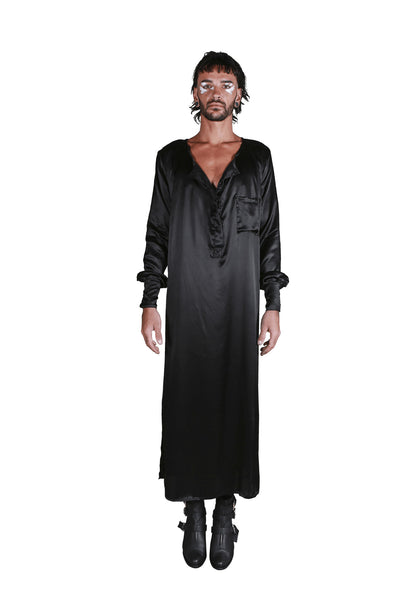 Shop Emerging Slow Fashion Genderless Avant-garde Designer Mark Baigent Rhiannon Collection Black Silk Satin Sara Dress at Erebus