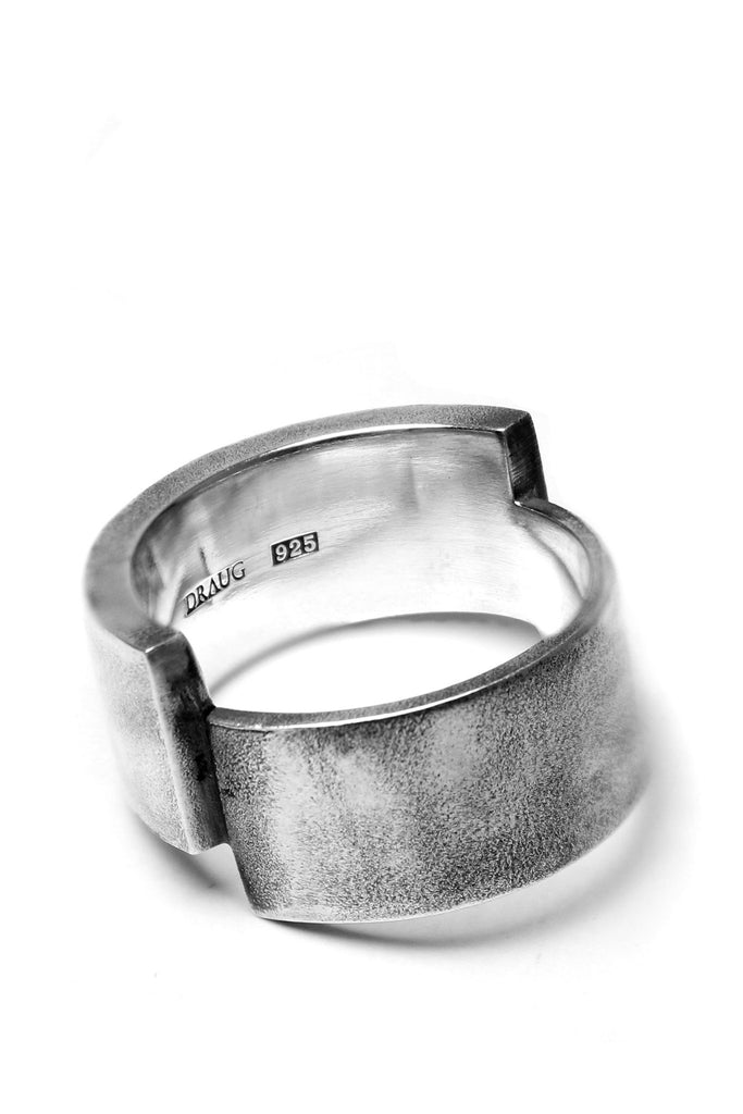 Shop Emerging Avant-garde Slow Fashion Unisex Brand Draug Jewellery Silver Savoye Ring at Erebus