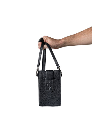 Shop Emerging Slow Fashion Genderless Avant-garde Designer Mark Baigent Spittelberg Collection Black Reclaimed Leather Schilling Phone Holder Bag at Erebus