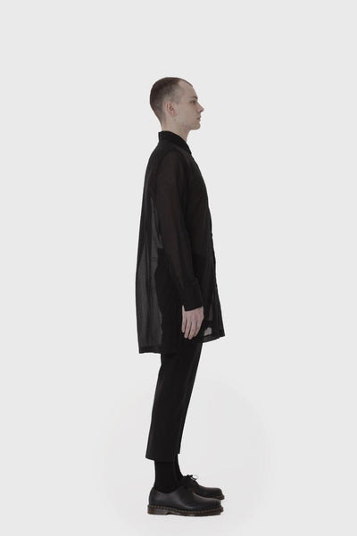 Shop Emerging Slow Fashion Avant-garde Menswear Designer Marco Scaiano Black Sheer Long Baldur Shirt at Erebus