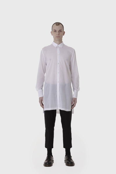 Shop Emerging Slow Fashion Avant-garde Menswear Designer Marco Scaiano White Sheer Long Baldur Shirt at Erebus
