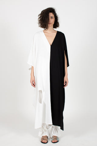 Shop Emerging slow fashion conceptual womenswear brand CLON8 black and white Euclidean Kaftan at Erebus