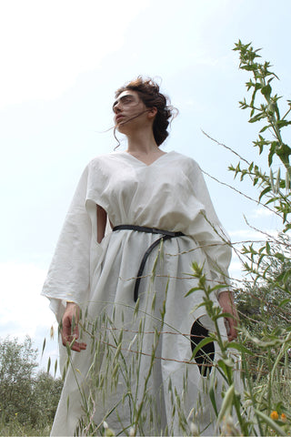 Shop Emerging slow fashion conceptual womenswear brand CLON8 white Euclidean Kaftan at Erebus