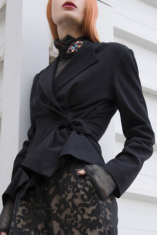 Shop emerging slow fashion conceptual womenswear brand CLON8 black Grace Wrap Blazer at Erebus