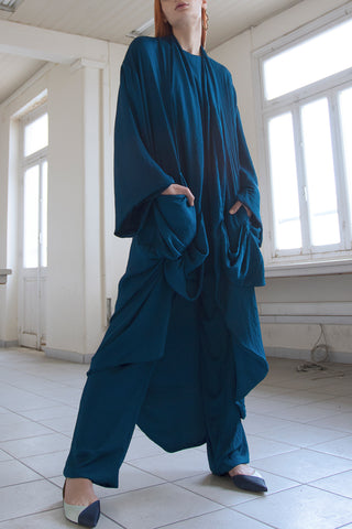 Shop emerging slow fashion conceptual womenswear brand CLON8 blue Relax Pants at Erebus