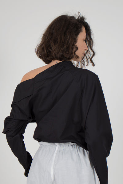 Shop emerging slow fashion conceptual genderless brand CLON8 black Honesty Blouse at Erebus