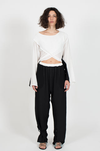 Shop emerging slow fashion conceptual genderless brand CLON8 black and white Kindness Top at Erebus