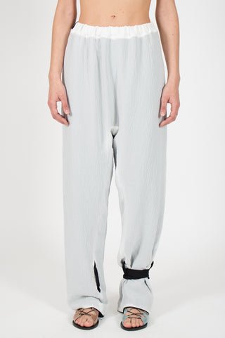 Shop emerging slow fashion conceptual genderless brand CLON8 black and white Relax Pants at Erebus