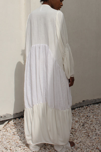 Shop emerging slow fashion conceptual genderless brand CLON8 white Wave Kaftan at Erebus