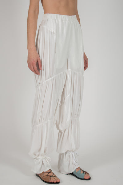 Shop emerging slow fashion conceptual genderless brand CLON8 white Wave Pants at Erebus