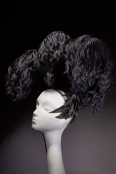 Shop emerging slow fashion milliner Valeria Agostini black Showgirl Fascinator - Erebus