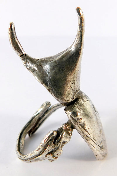 Shop Emerging Slow Fashion Conscious Designer Stacy Hopkins Jewelry Silver Siamese Fighting Beetle Ring at Erebus