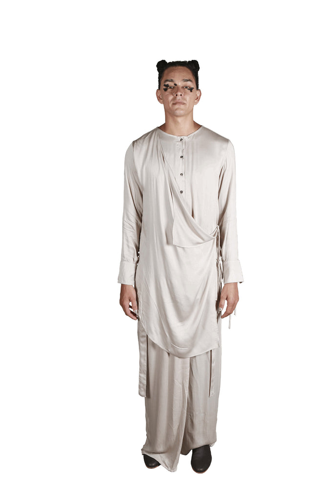 Shop Emerging Slow Fashion Genderless Avant-garde Designer Mark Baigent Rhiannon Collection Creme Sister Tunic at Erebus