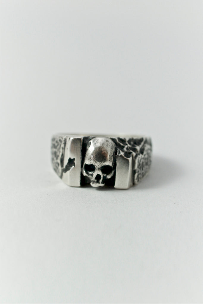 Shop Emerging Conscious Avant-garde Brand Black Rock Jewel Skull Carved Ring at Erebus