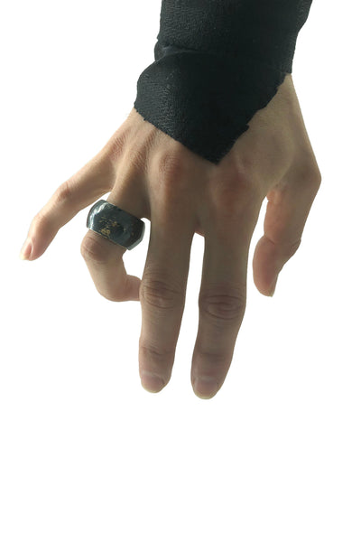 Shop Emerging Avant-garde Jewellery Brand Relics by Geo Blackened Bronze Skyphos Vase Ring at Erebus