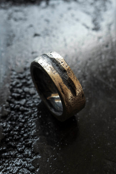 Shop Emerging Slow Fashion Avant-garde Jewellery Brand Surface Cast Blackened Bronze Slash Ring at Erebus