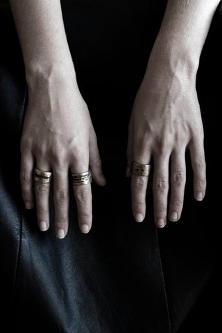 Shop Emerging Slow Fashion Avant-garde Jewellery Brand Surface Cast Blackened Bronze Puncture Medium Ring at Erebus