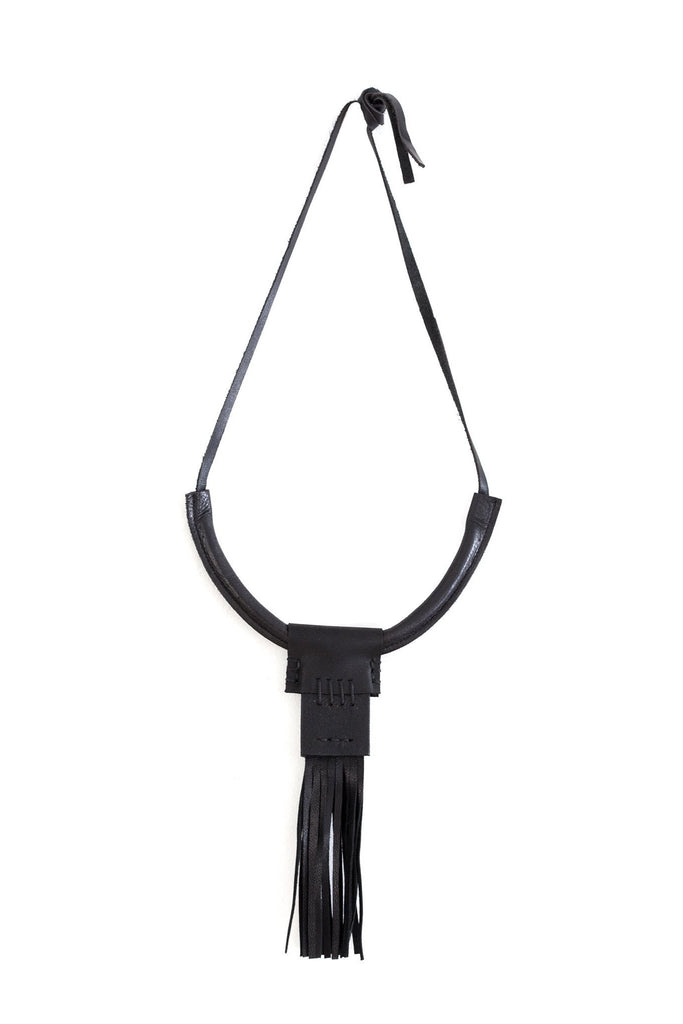 Shop emerging slow fashion accessory brand For Those Who Pray Black Leather Slim Fringe Necklace - Erebus