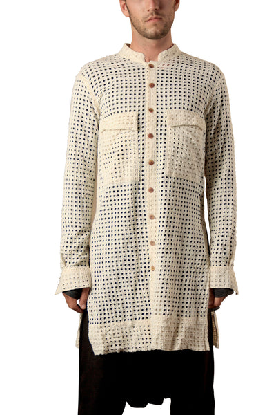 Shop Emerging Slow Fashion Genderless Avant-garde Designer Mark Baigent Natural Embroidered Hole Pattern Slit Shirt at Erebus
