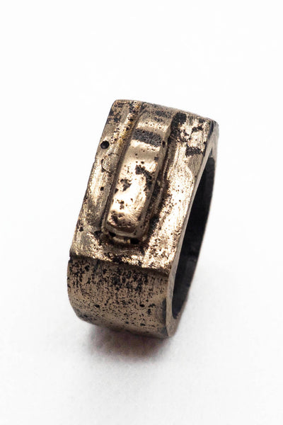 Shop Emerging Slow Fashion Avant-garde Jewellery Brand Surface Cast Blackened Bronze Slope Small Ring at Erebus
