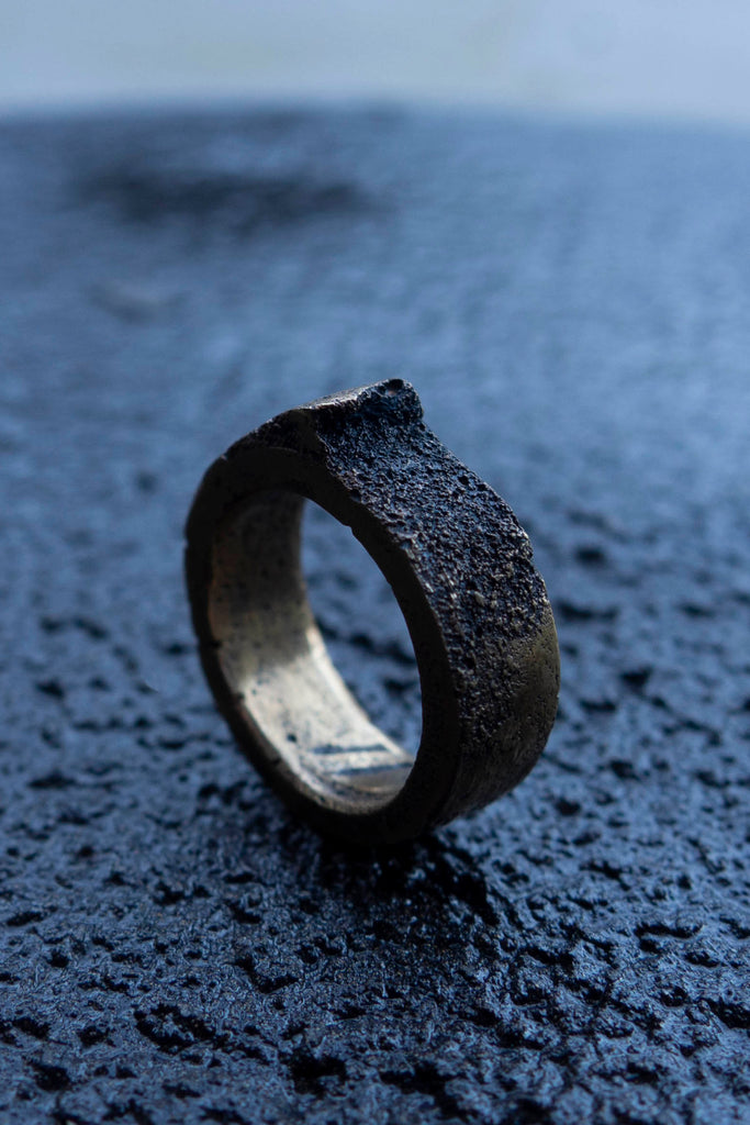 Shop Emerging Slow Fashion Avant-garde Jewellery Brand Surface Cast Blackened Bronze Small Simulation 3 Ring at Erebus