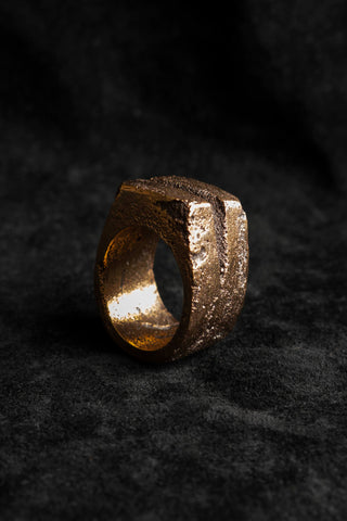 Shop Emerging Slow Fashion Avant-garde Jewellery Brand Surface Cast Blackened Bronze R1 Small Ring at Erebus