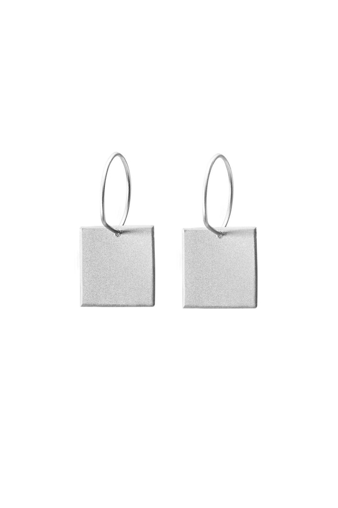 Shop Emerging Structural Jewellery Conservation of Matter Silver Small Square Drop Earrings at Erebus