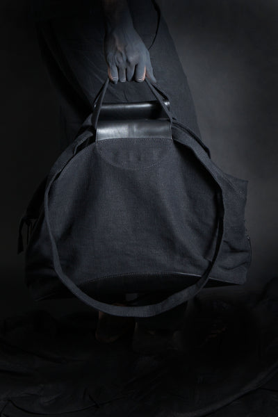 Shop Emerging Conscious Avant-garde Designer Brand MDK Miranda Kaloudis Black Leather and Waxed Linen Canvas Solar Bag at Erebus