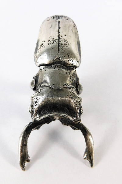 Shop Emerging Slow Fashion Conscious Designer Stacy Hopkins Jewelry Silver Stag Beetle Ring at Erebus