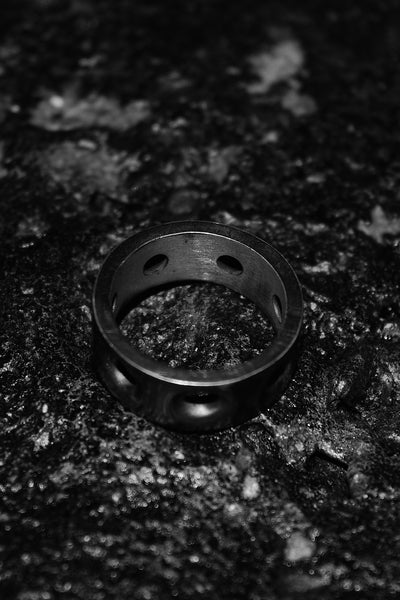 Shop Emerging Slow Fashion Avant-garde Jewellery Designer David Gaboriau Oxidised Silver Stamp Ring at Erebus