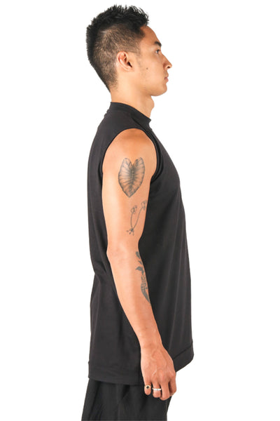 Shop Fair Fashion Genderless Avant-garde Basics Brand PULSE by Mark Baigent Collection Black Biodegradable Tencel Sternum Tank at Erebus