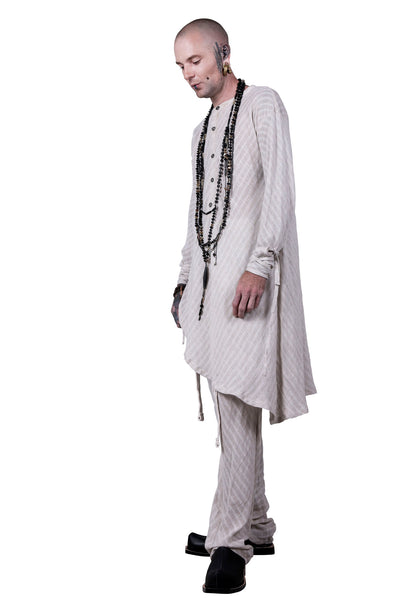 Shop Emerging Slow Fashion Agender Avant-garde Designer Mark Baigent Casual Left Stripe Pants at Erebus