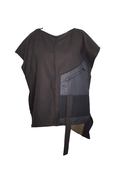 Shop Emerging Conscious Avant-garde Gender-free Brand Supramorphous Black Structure S06 Top at Erebus