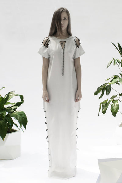 Shop Emerging Conceptual Womenswear Designer Luba GnaSevych Maxi Laced Dress at Erebus