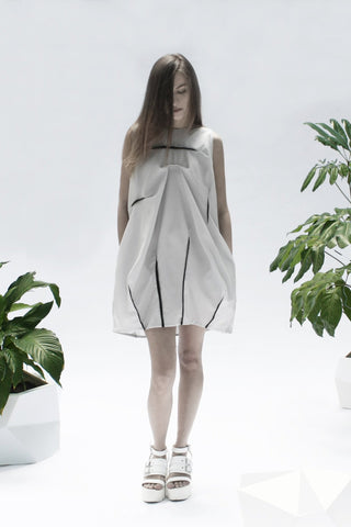 Shop Emerging Conceptual Designer Luba GnaSevych Light Blue Angle Mini Bubble Dress at Erebus