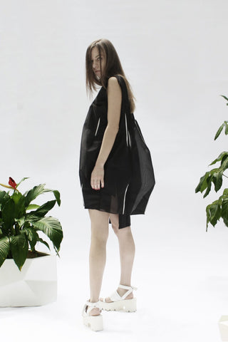 Shop Emerging Conceptual Designer Luba GnaSevych Black Angle Mini Bubble Dress at Erebus