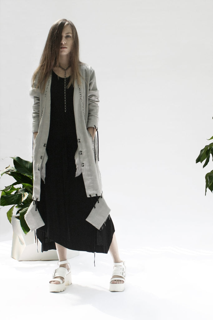 Shop Emerging Conceptual Womenswear Designer Luba GnaSevych Grey Scarred Stitch Long Blazer at Erebus